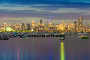 Melbourne from Williamstown at Dusk